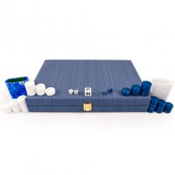 blue and white travel backgammon