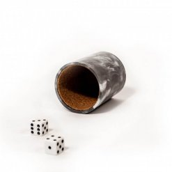 Cork black marbled dice cup