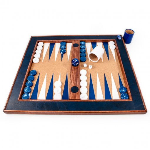 Tabletop backgammon set blue and white