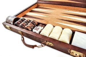 Cork Backgammon ivory checkers vintage chcoolate