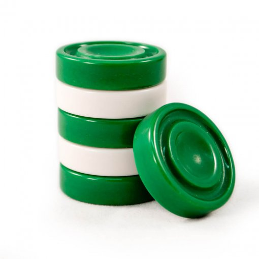 Crisloid solid grooved green and white backgammon checkers
