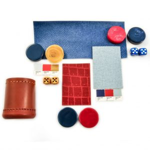 Kit dice checkers snakeskin blue grey red dice cup leather