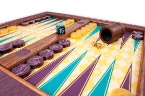 Crisloid custom backgammon set archival canvas purple teal