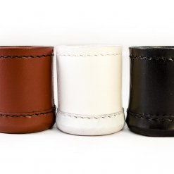 Crisloid leather dice cups brown chestnut white black