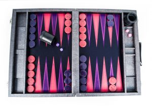 Crisloid Legacy Midnight backgammon set archival canvas purple pink