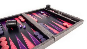 Crisloid custom backgammon set Legacy midnight archival canvas purple pink