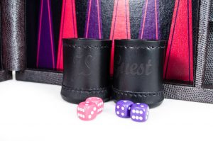 Crisloid custom backgammon set Legacy midnight archival canvas purple pink black leather cup