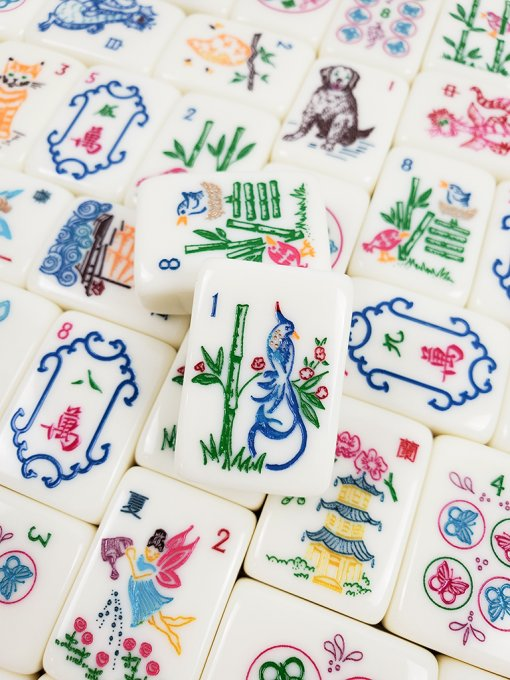 Closeup of Mahjong Tiles